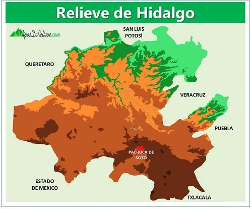 mapa del relieve de hidalgo