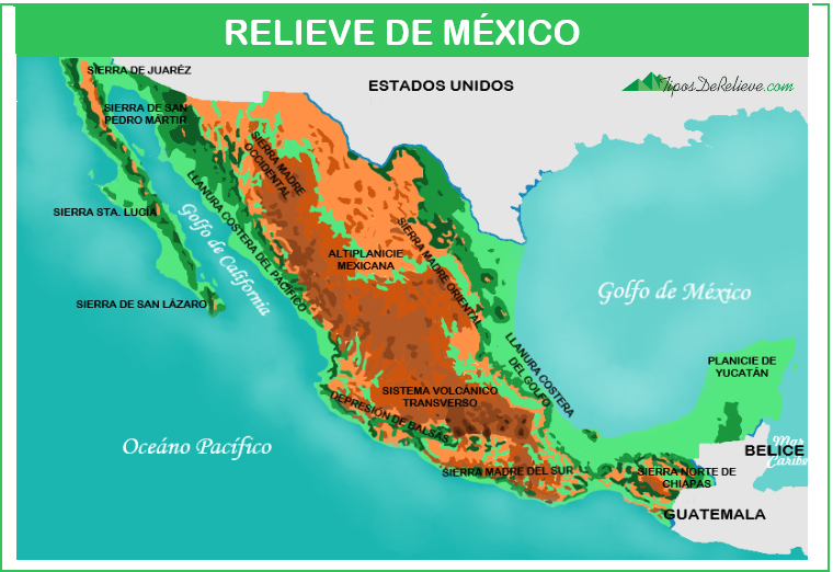 mapa del relieve de mexico