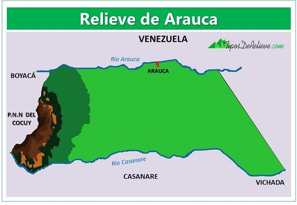 mapa del relieve de arauca