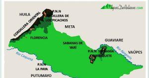 mapa del relieve de caqueta
