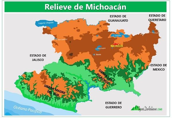 mapa del relieve de michoacan