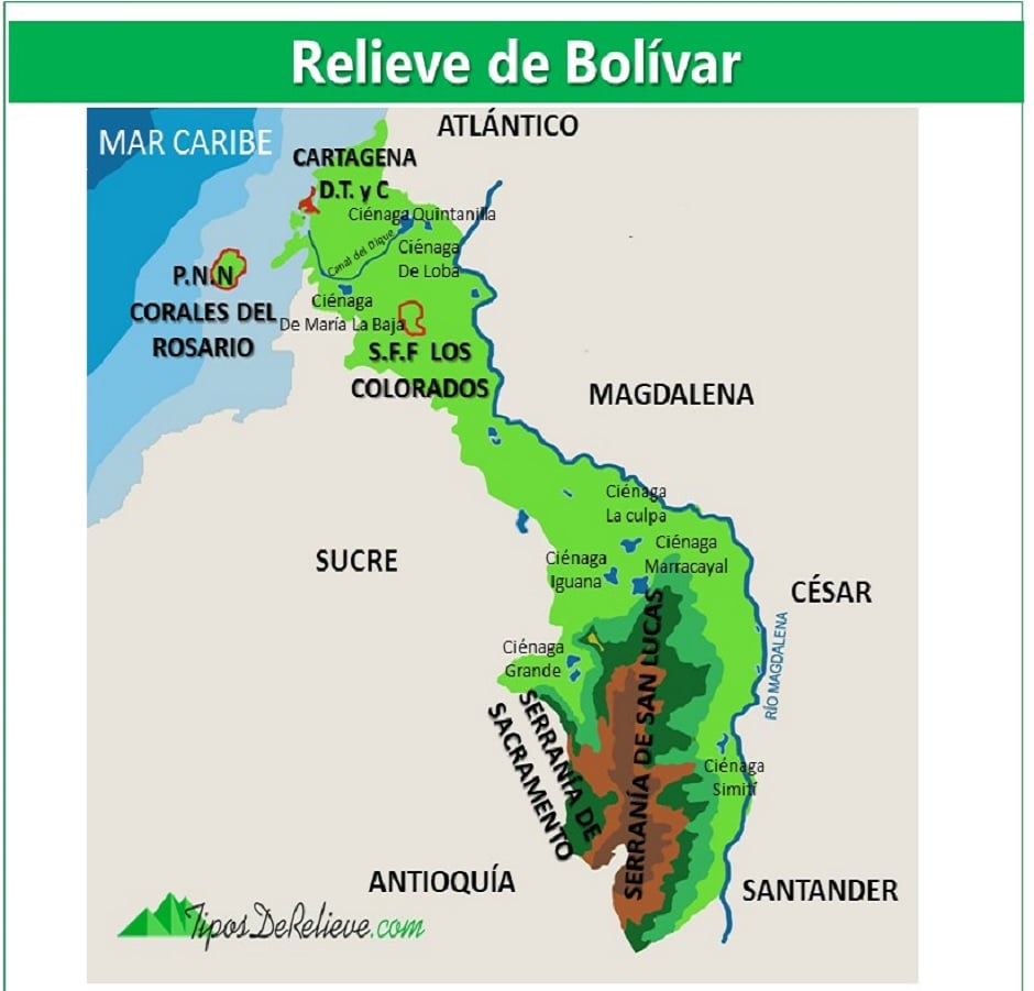 mapa del relieve de bolivar