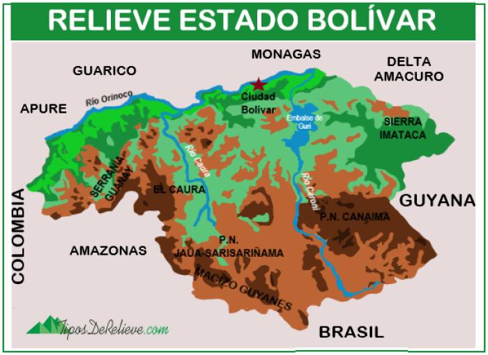 mapa del relieve del estado bolivar