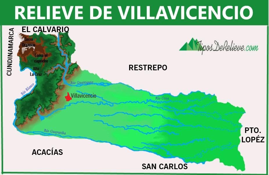 mapa del relieve de villavicencio