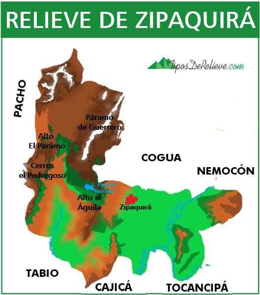 mapa del relieve de zipaquira