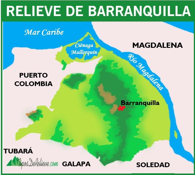 mapa del relieve de barranquilla