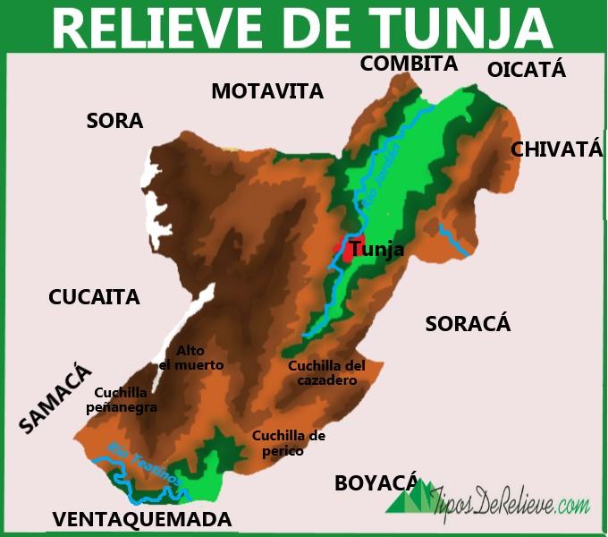 mapa del relieve de tunja