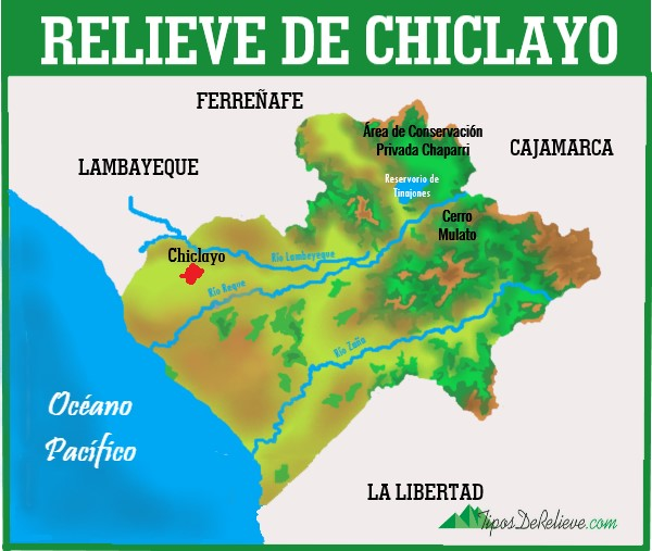 mapa del relieve de la provincia de chiclayo