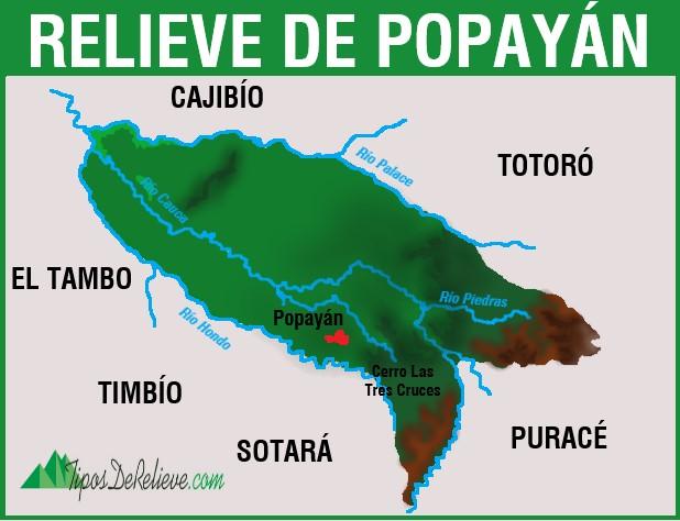 mapa del relieve de popayan
