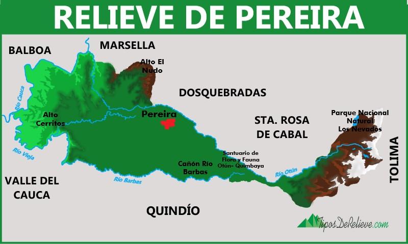 mapa del relieve de pereira