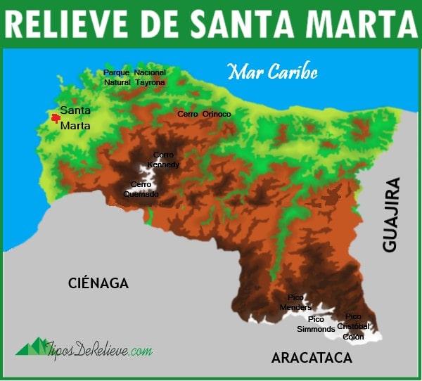 mapa del relieve de santa marta
