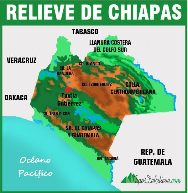 mapa del relieve de chiapas