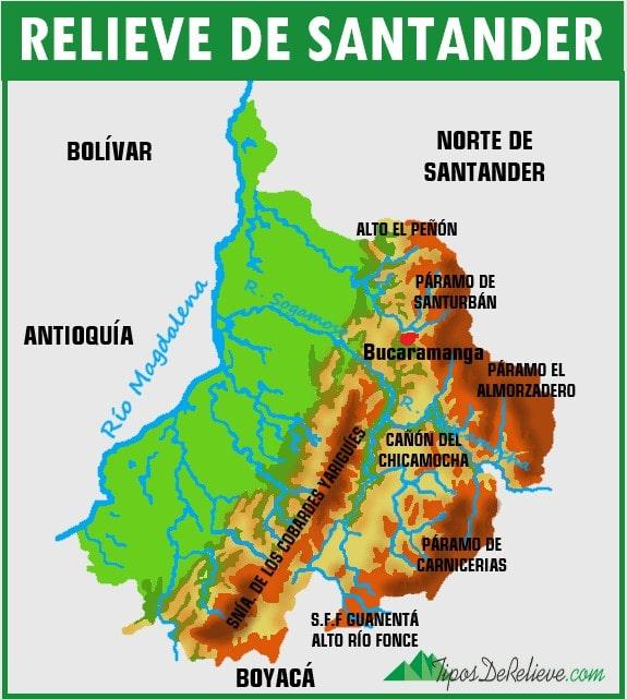 mapa del relieve de santander
