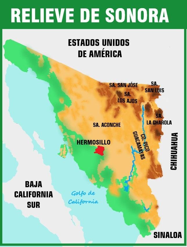 mapa del relieve de sonora
