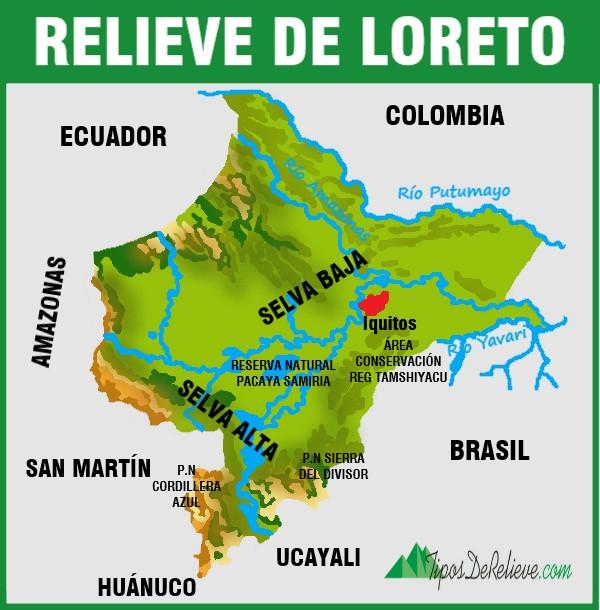 mapa del relieve de loreto