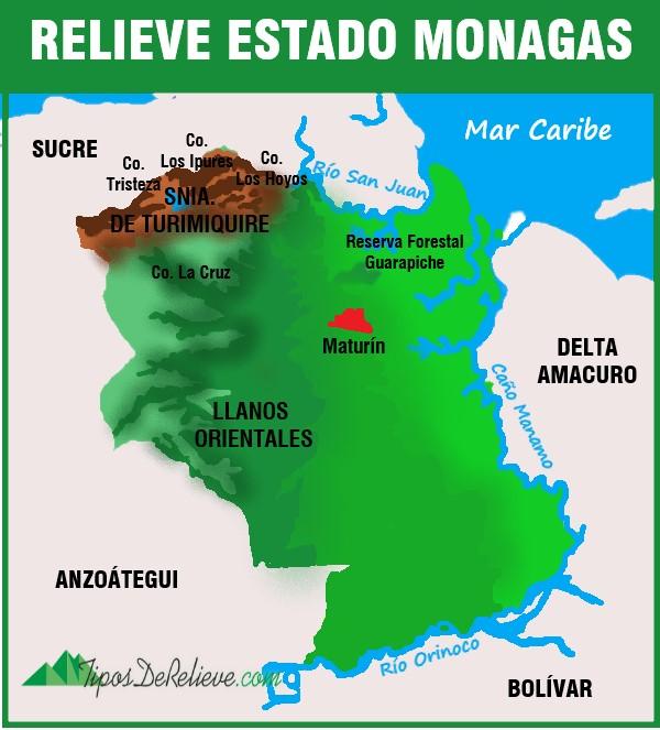 mapa del relieve del estado monagas