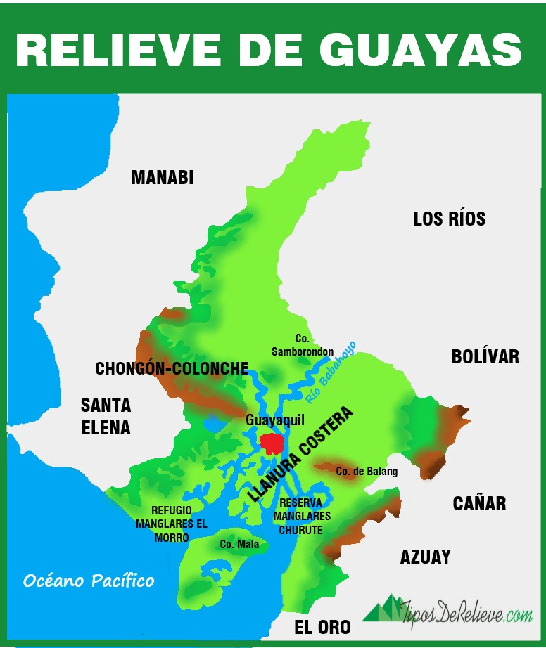 mapa del relieve de guayas
