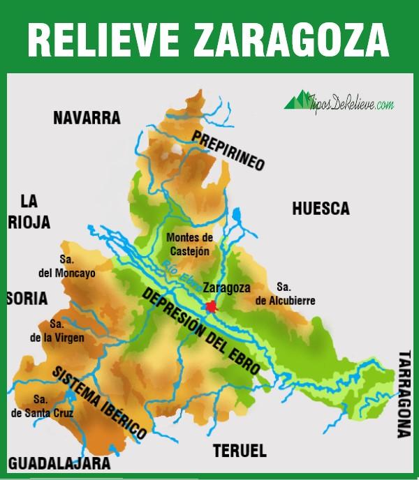 mapa del relieve de zaragoza