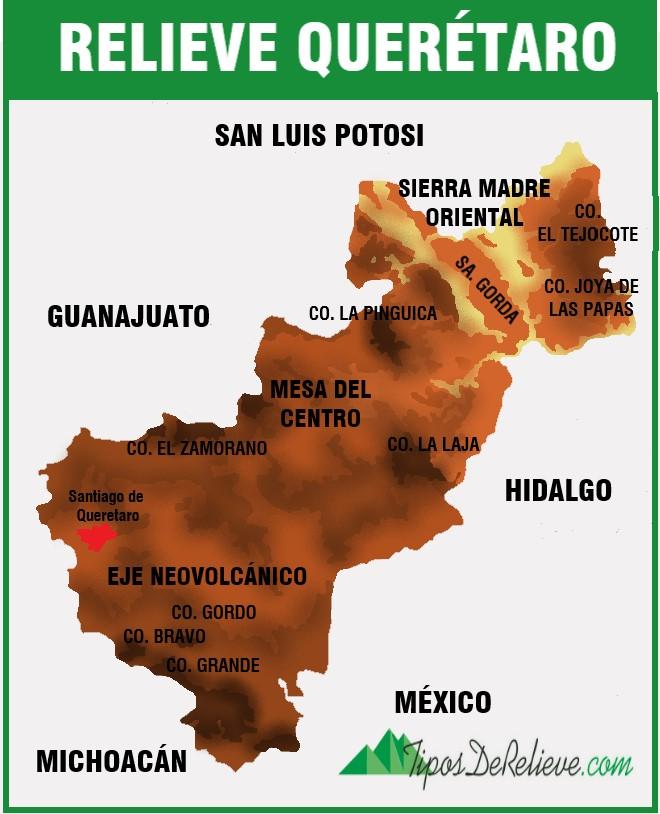 mapa del relieve de queretaro